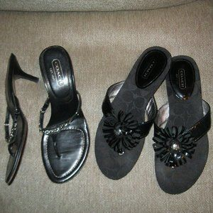 2 PR COACH Black Day to Evening Shoes Kitten Heels and Thong Flip Flop Shoes 7